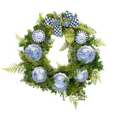 Fern Wreath - Royal Toile