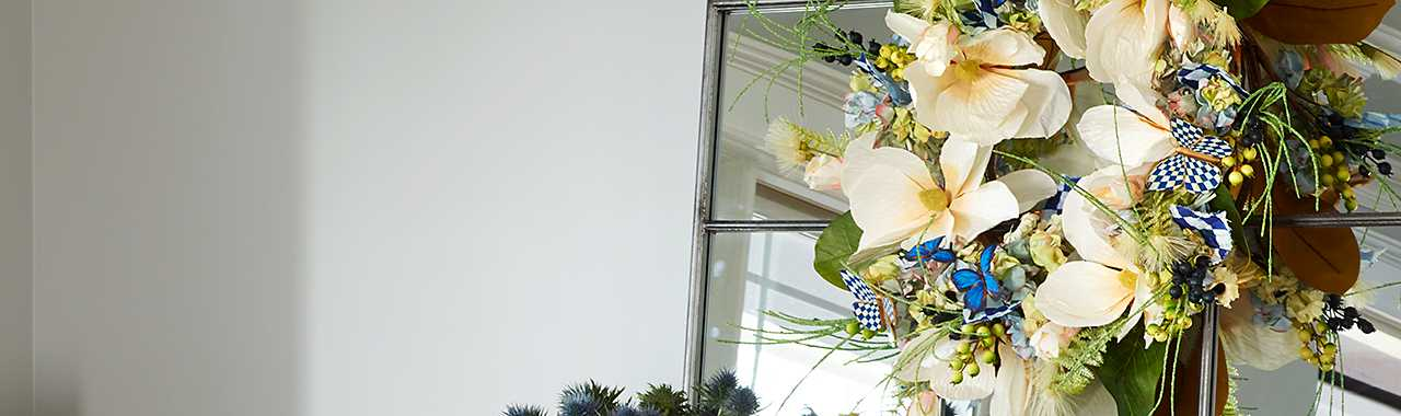 Royal Check Butterfly Wreath Banner Image
