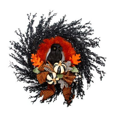 Black Owl Wreath - Medium