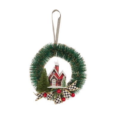 Happy Holidays Bottle Brush Wreath