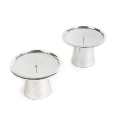 Small Dish Candle Holders - Silver - Set of 2