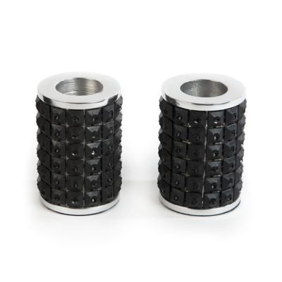 Studded Candle Holders - Black - Set of 2
