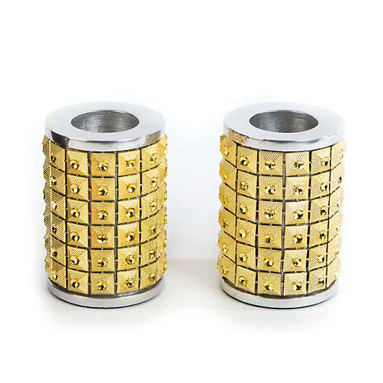 Studded Candle Holders - Gold - Set of 2 image two