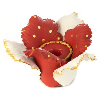 Daffodil Candle Holder - Red & White