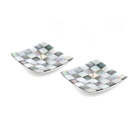 Square Candle Holders - Grey & Pearl - Set of 2 image two