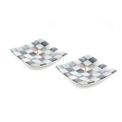 Square Candle Holders - Grey & Pearl - Set of 2