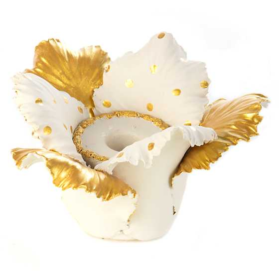 Daffodil Candle Holder - Gold & White image one