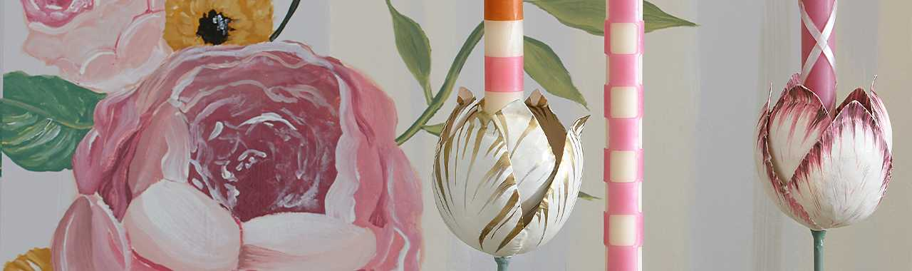 Tulip Candle Holder - Pink & Ivory - Large Banner Image