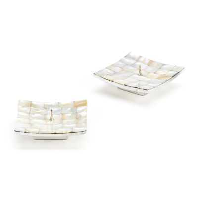 Square Candle Holders - Pearl - Set of 2