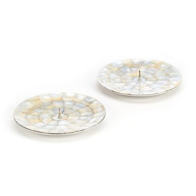 Mother of Pearl Candle Holders - Round - Set of 2