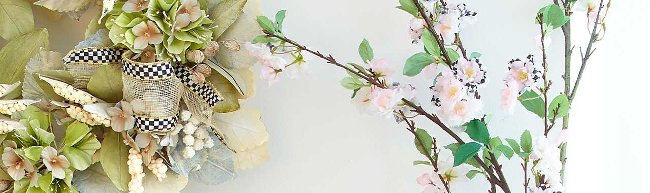 Courtly Check Cherry Blossom Spray - White Banner Image