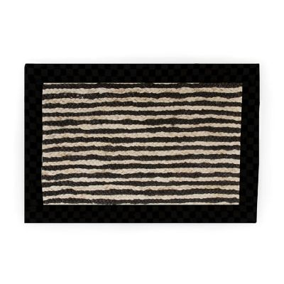 Black Braided Stripe Jute Rug - 2' x 3'