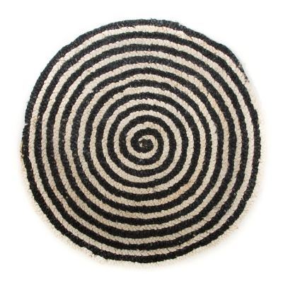 Black Braided Jute Swirl Rug - 3' Round