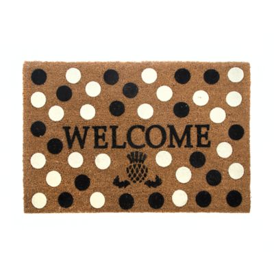Welcome Entrance Mat - Black & White Dot