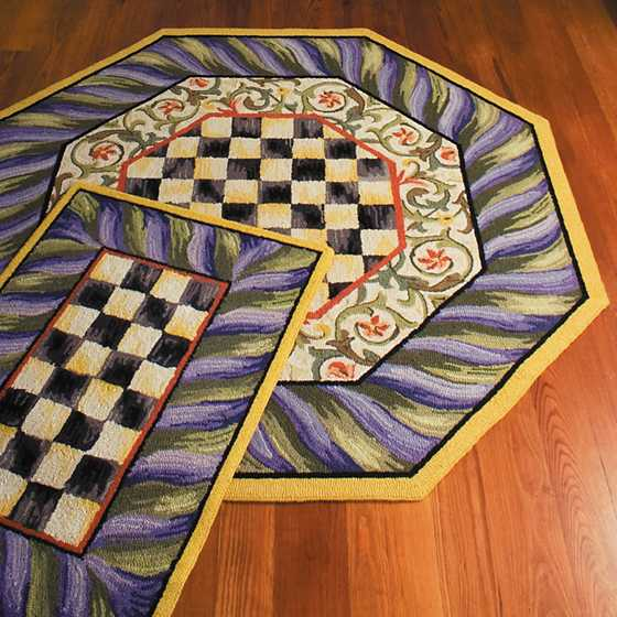 Courtly Check Rug - 5' Octagon - Purple & Green image four