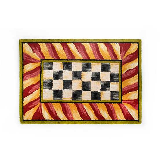Red And White Checkered Rug: Courtly Check Rug - 2' X 3' - Red & Gold