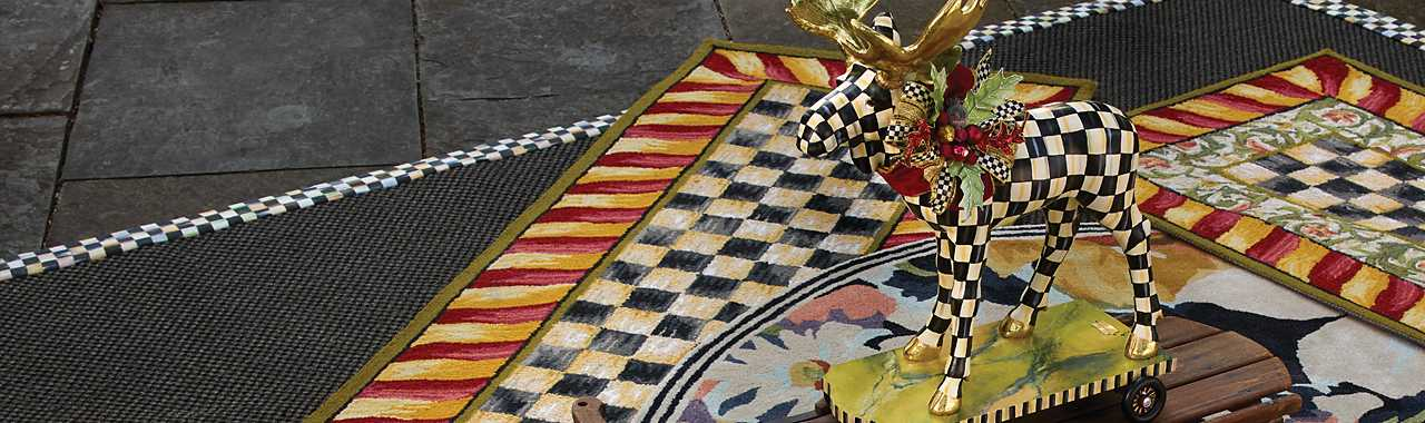 "Courtly Check Rug - 2'6"" x 8' Runner - Red & Gold Banner Image"