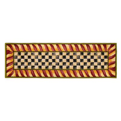 "Courtly Check Rug - 2'6"" x 8' Runner - Red & Gold"