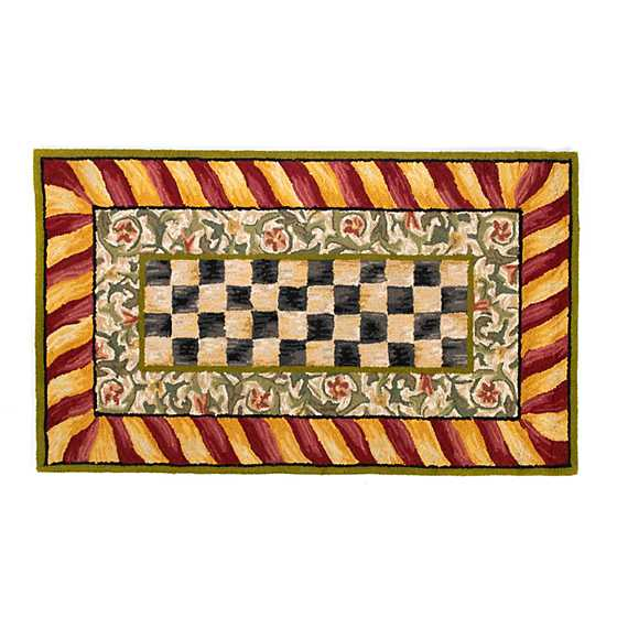 Courtly Check Rug 3 X 5 Red Gold