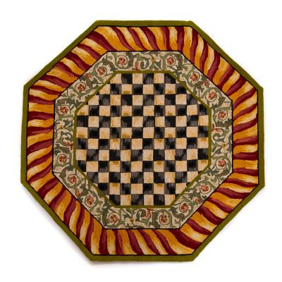 Image for Courtly Check Rug - 6' Octagon - Red & Gold