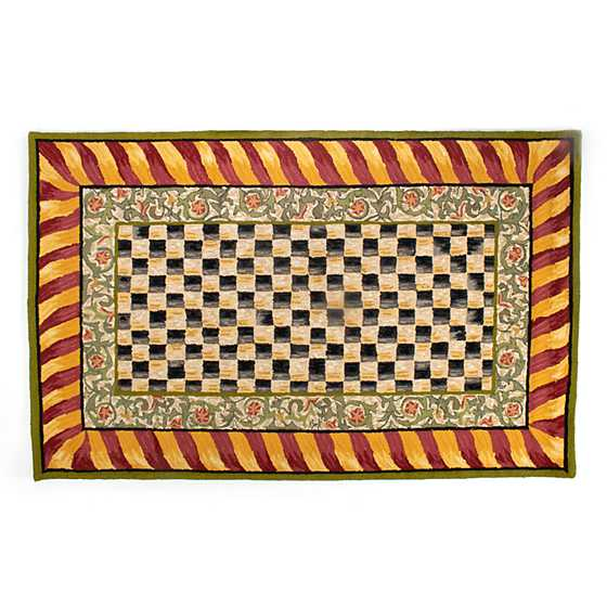Courtly Check Rug - 5' x 8' - Red & Gold