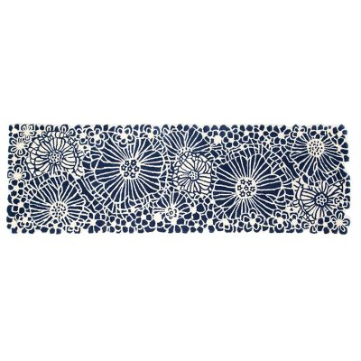 "Blueberries & Cream Floral Rug - 2'6"" x 8' Runner"