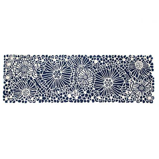 "Blueberries & Cream Floral Rug - 2'6"" x 8' Runner image one"