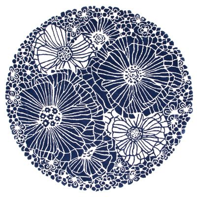 Blueberries & Cream Floral Rug - 6' Round