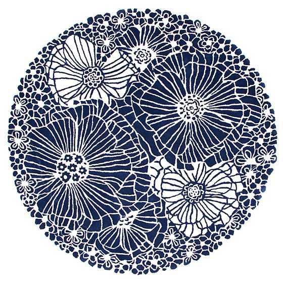 Blueberries & Cream Floral Rug - 6' Round image one