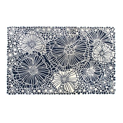 Blueberries & Cream Floral Rug - 5' x 8'