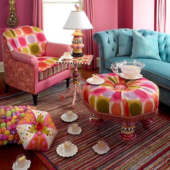 Super Pink Striped Rug - 5' x 8' image two