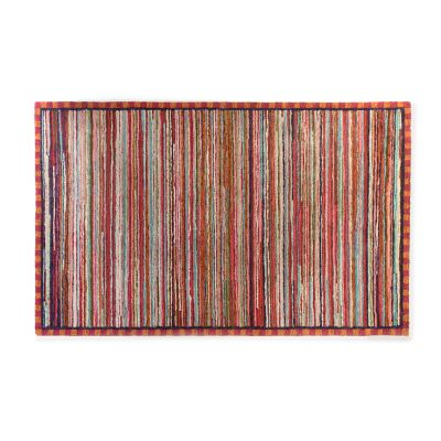 Super Pink Striped Rug - 5' x 8'