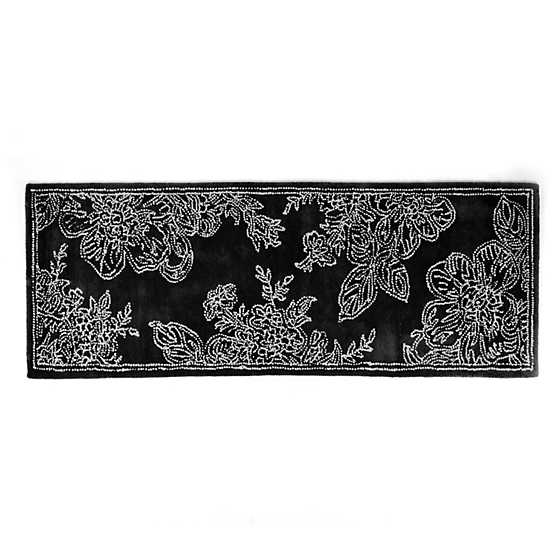 "Wild Rose Rug - 2'6"" x 8' Runner - Black"