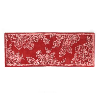 "Wild Rose Rug - 2'6"" x 8' Runner - Red"