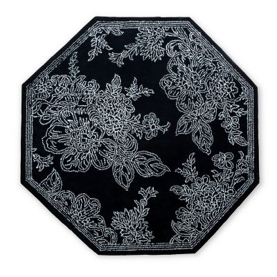 Wild Rose Rug - 6' Octagon - Black