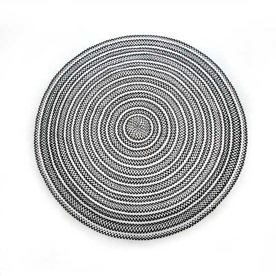 Crayon Braided Rug 6u0027 Round Black U0026 White