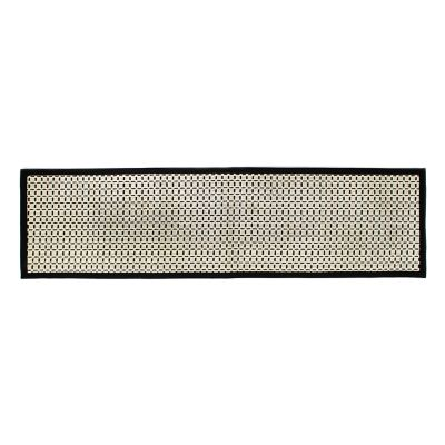 "Bauhaus Check Rug- 2'6""x 9' Runner-Black & White"