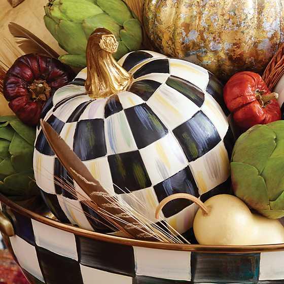 Mackenzie Childs Courtly Check Pumpkin Mini