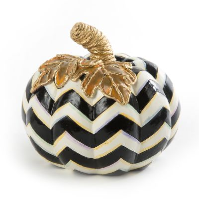 Black & White Chevron Pumpkin - Small