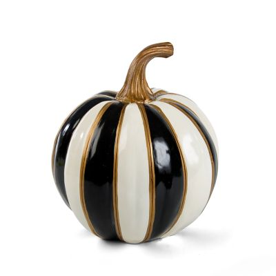 Black & White Stripe Pumpkin - Small