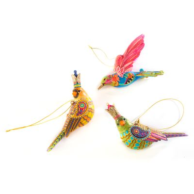 Paradise Bird Ornaments - Set of 3