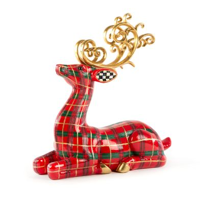 Red Tartan Tabletop Deer - Sitting