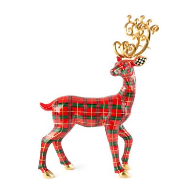 Red Tartan Tabletop Deer - Standing