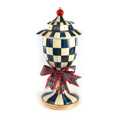 Royal Check Lidded Urn - Large