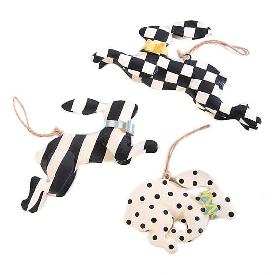 Rabbit Crossing Ornaments - Set of 3