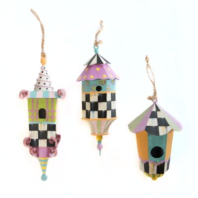 Spring Birdhouse Ornaments - Set of 3