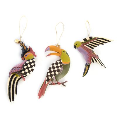 Paradise Bird Tin Ornaments - Set of 3