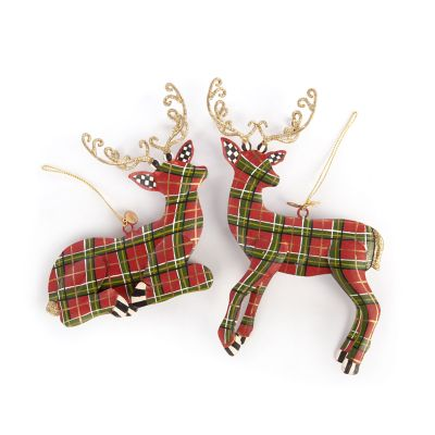 Tartan Deer Ornaments - Set of 2