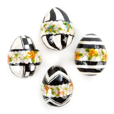 Black & White Floral Eggs - Medium - Set of 4