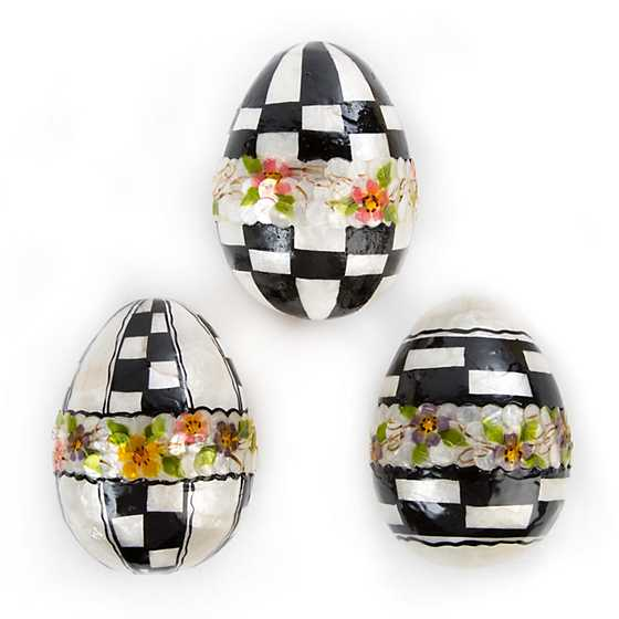 Black & White Floral Eggs - Large - Set of 3